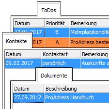 ProAdress Kontakte, Dokumente, ToDos